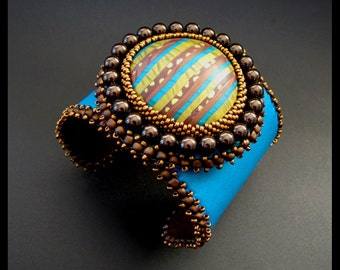 SALE 25% OFF - Turquoise, Green & Brown Stripe - Bead Embroidered Beaded Leather Cuff