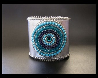 Around & Around - Bead Embroidered, Silver, Turquoise, Teal and Purple Beaded Leather Cuff