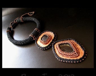 Fiery Warrior - Black and Copper Beaded Statement Necklace Crochet Bead Embroidery OOAK