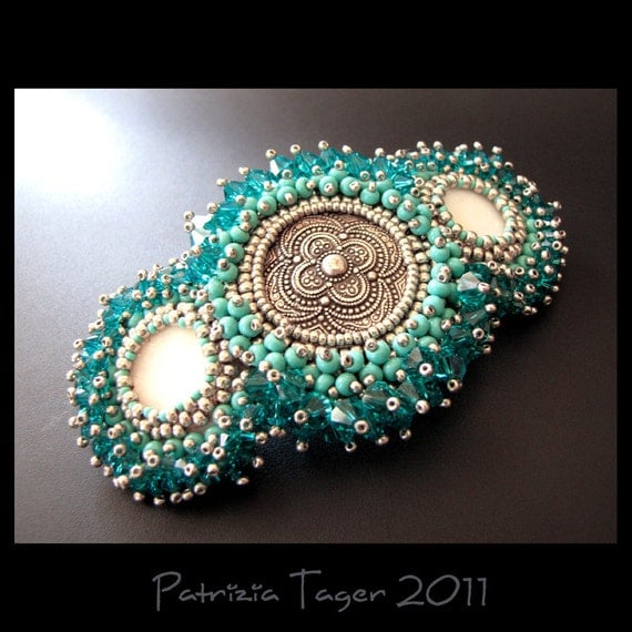 Blue Lagoon - Silver, Turquoise and Teal Bead Embroidered Beaded Hair Barrette