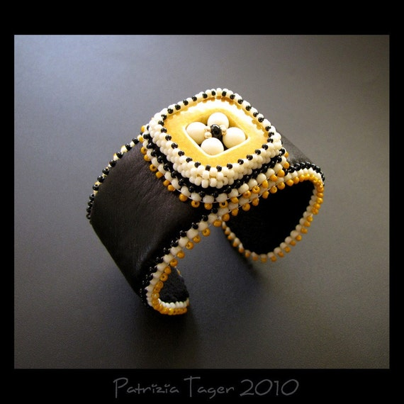 SALE 25% OFF - Retro Square Black and Mustard - Bead Embroidered Leather Beaded Cuff