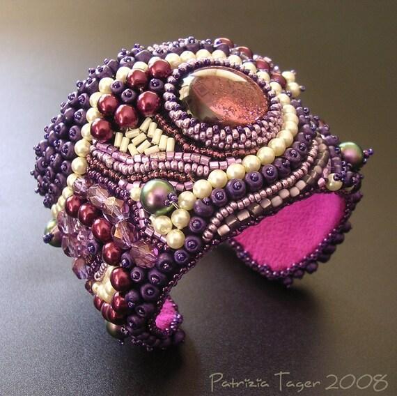 RESERVED for birtasophia - SALE 25% off - Purple Balagan -  OOAK Bead Embroidered Cuff