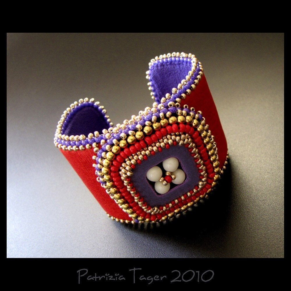 Retro square red purple and gold bead embroidered leather