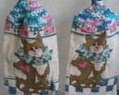 Pastel-multi crochet-top kitchen towels - Cats