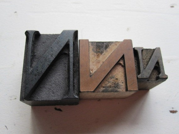 Vintage Printers Blocks Letter N