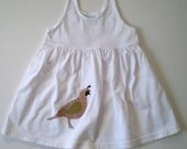 girl's summer dress with applique quail size 12 months