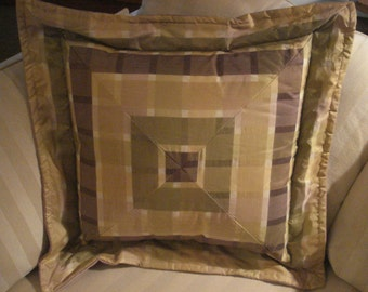 Yellow and Lilac Plaid Pillow