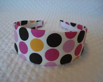 Brown, Pink, and Orange Polka Dot Headband