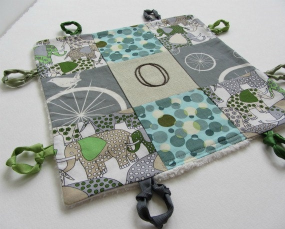 Baby Boy  Lovey with Custom Hand Embroidery and Knotties by Dolce Dreams