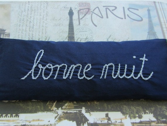 Lavender and Flaxseed Eye Pillow with Hand Embroidery ~ Bonne Nuit ~ Relax ~ Silk Eye Pillow ~ Spa ~ Navy Light Blue