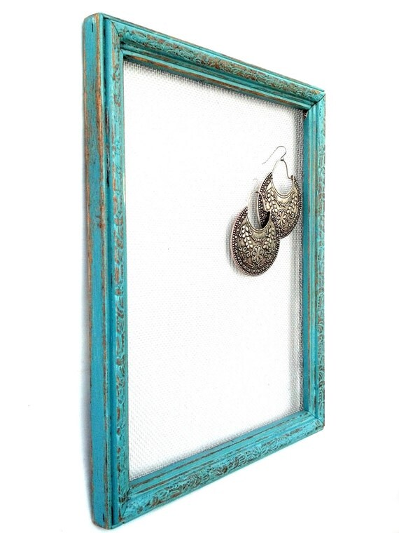 Teal distressed earring frame with pattern