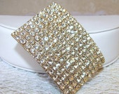Large Rhinestone Buckle Diamante Wedding Bridal Pageant Ballroom Costume Vintage
