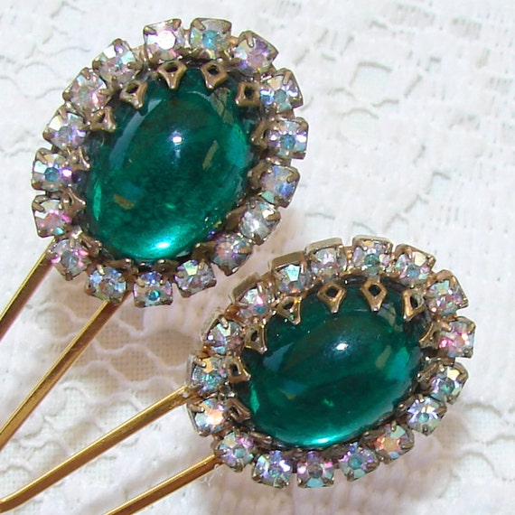 Emerald Wedding Green Rhinestone Hair Combs Jewelry Prom Formal Accessory