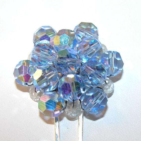 Blue Crystal Hair Comb Vintage Jewelry Something Blue Wedding