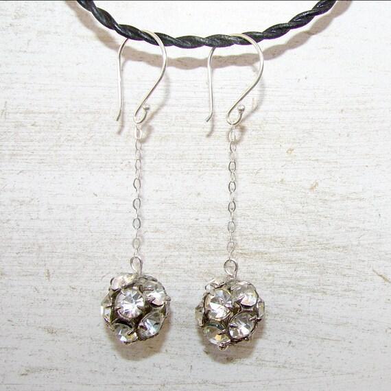 Vintage Rhinestone Ball Drops Dangle Earrings Wedding Bridal Prom