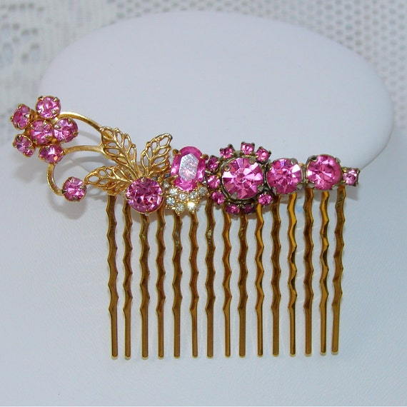 Pink Rhinestone Hair Comb Flowers Wedding Bridal Vintage Costume Jewelry Hairpiece Bridal Headpiece Formal Accessory