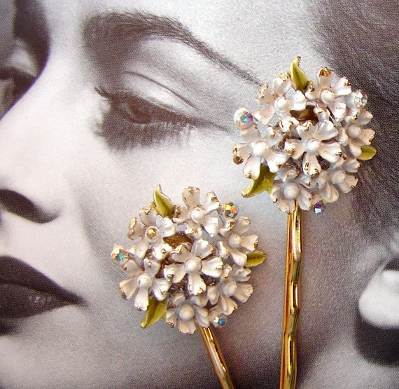 Vintage Flowers Rhinestones Hairpins Wedding