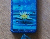 Water Lily Altered Domino Necklace
