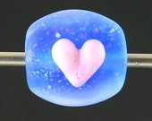 Handmade Lampwork Glass Focal Bead by Lara - Blue Dichro Bead with Pink Heart