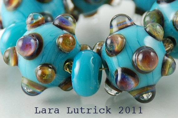 Handmade Lampwork Beads Rainbow Polka Dot on Turquoise