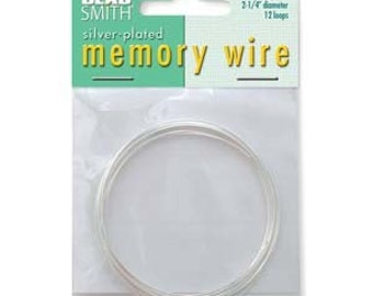 2 1/4 In Diameter Beadsmith Memory Wire For Bracelet Silver Plate 12 Turns 42518