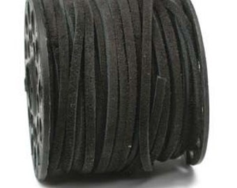 Leather Lace Cord Split Suede Black 3mm 42669 (1) Yard
