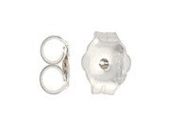 4.3 x 5.1mm Ear Nut Medium Sterling Silver Earring Back Clutch Findings (100) 50 Pair 38031