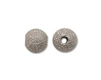 50 - 6mm Silver Plated Stardust Sparkle Round Beads 36130