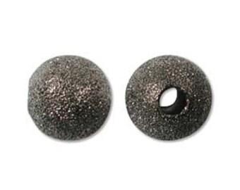 8mm Gun Metal Plated Stardust Sparkle Round Beads (25) 36131