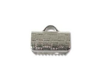 25 - 10mm Silver Tone Ribbon Crimp End Clamp 25012