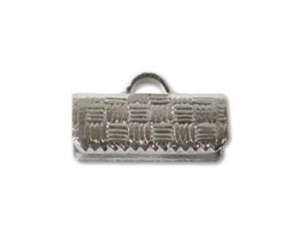 13mm Silver Tone Ribbon Crimp End Clamp 25013