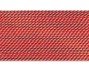 Griffin Silk Cord Thread Size 4 - CORAL with Needle (2) 42224