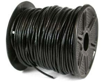 Genuine LEATHER CORD 1mm BLACK (By the Yard) 42963