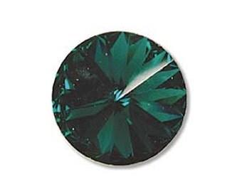 2 - 12mm Swarovski Elements Crystal Rivoli 1122 EMERALD Beads 59043