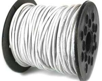 Genuine Leather Cord 1mm WHITE (By the Yard) 42977