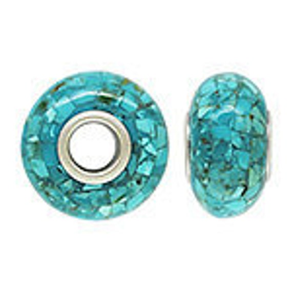 14 x 7mm Mosaic Turquoise Bead 4.7mm Hole For European (1) 31316