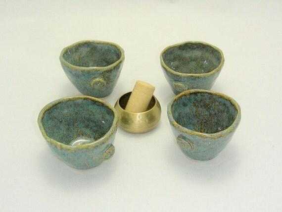 AmberBlue Handbuilt Sake Cup Set
