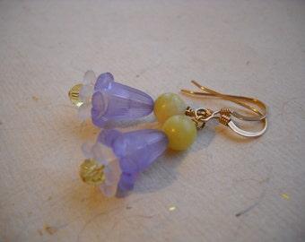 Vintage Lilac Flower and Crystal Earrings