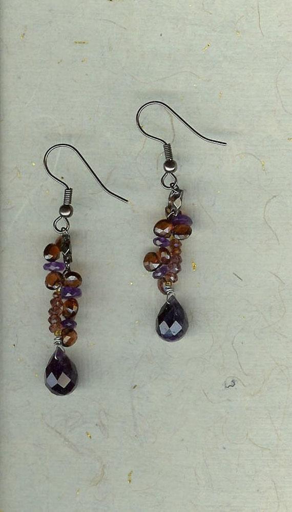 Luxurious Gemstones - Amethyst and Garnet Earrings
