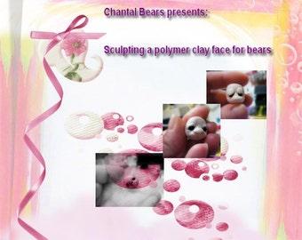 Sculpting a polymer clay face for teddy bears.