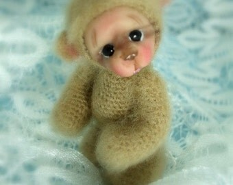 Thread Crochet Teddy Bear Pattern (PDF) - Teddy Bear with a polymer clay face.