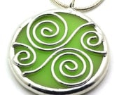 Lime Spirals - Stained Glass Necklace - BeckySharpDesigns