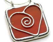 Red Sweetheart - Stained Glass Pendant Necklace