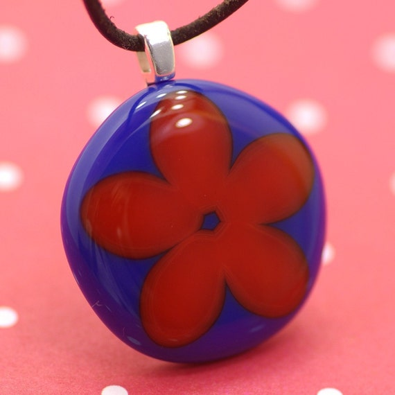 CLEARANCE - Flower Power - Red on Blue - Fused Glass Pendant Necklace
