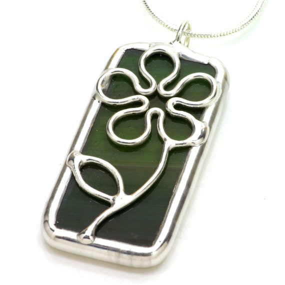 Green Daisy - Stained Glass Pendant Necklace