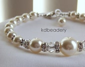 Swarovski Soft Ivory Pearl Bracelet. Bridal. Silver.