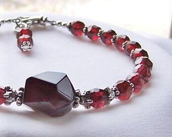 Gorgeous Garnet. Gemmy Garnet and Silver Bracelet. January Birthstone.