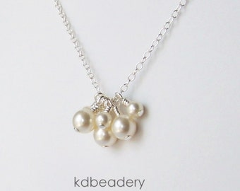 Pearl Cluster. Swarovski Pearl Necklace. Sterling Silver. Bridal.