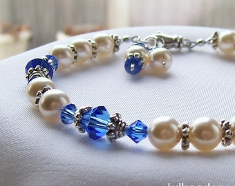 Sapphire. Ivory Pearl and Sapphire Crystal Bracelet. Bridal Party. September Birthstone.
