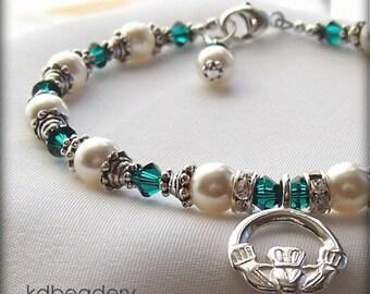 Irish Eyes. Claddagh Bracelet. Swarovski Pearls, St. Patrick's Day. Bridal.